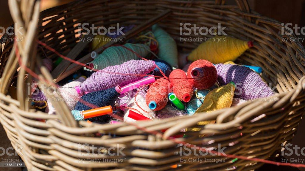 Colorful thread balls stock photo