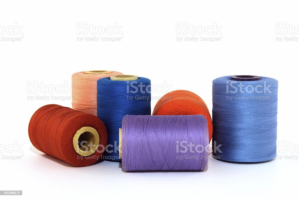 Colorful thread bobbins royalty-free stock photo
