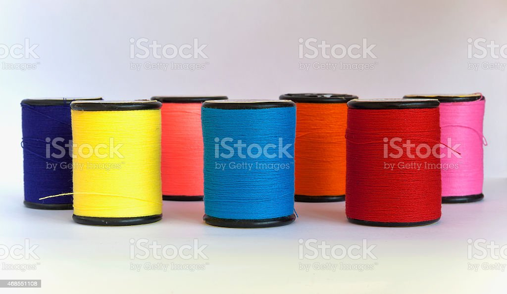 Colorful thread in spool royalty-free stock photo
