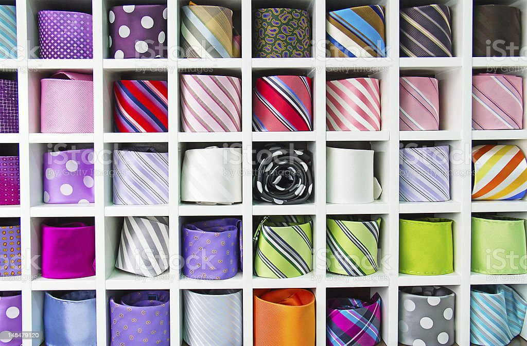 Colorful tie collection stock photo