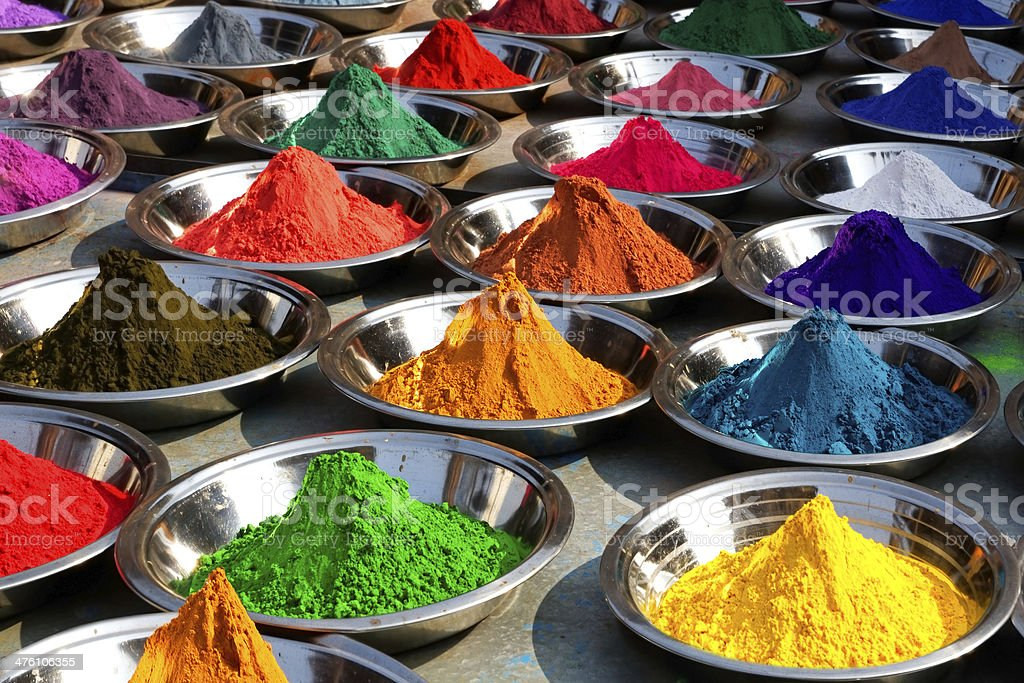 Colorful tika powders on Orcha market, India stock photo