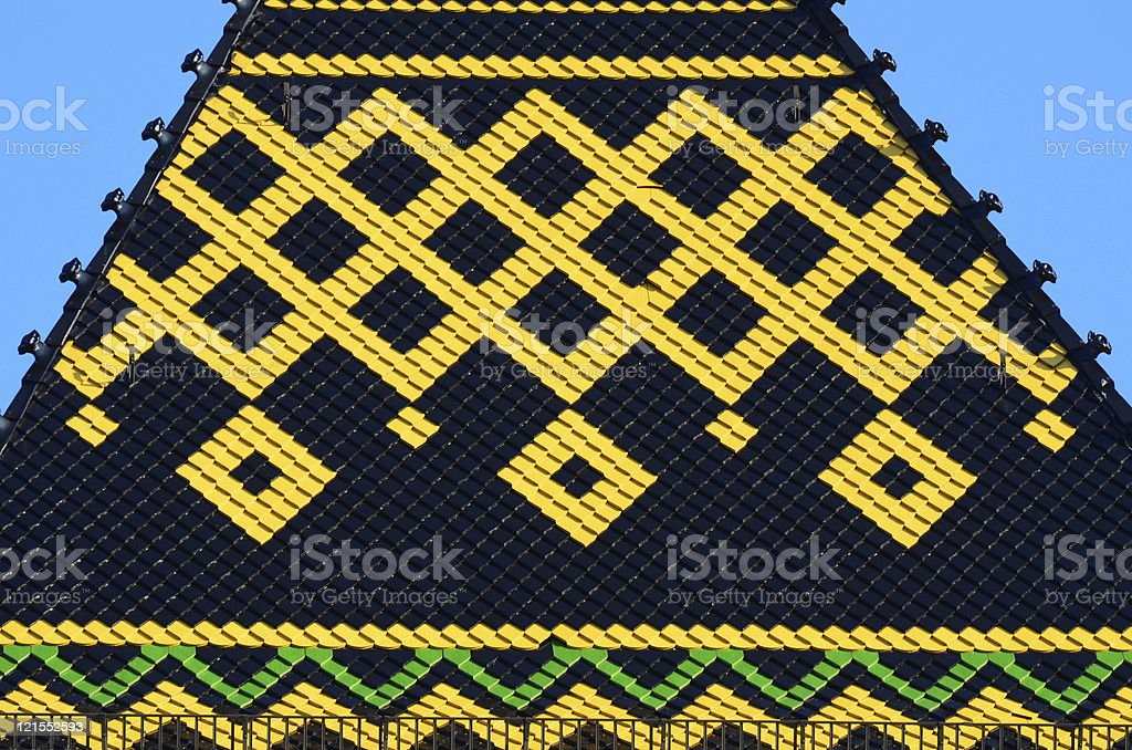 Colorful tiled roof, German style stock photo