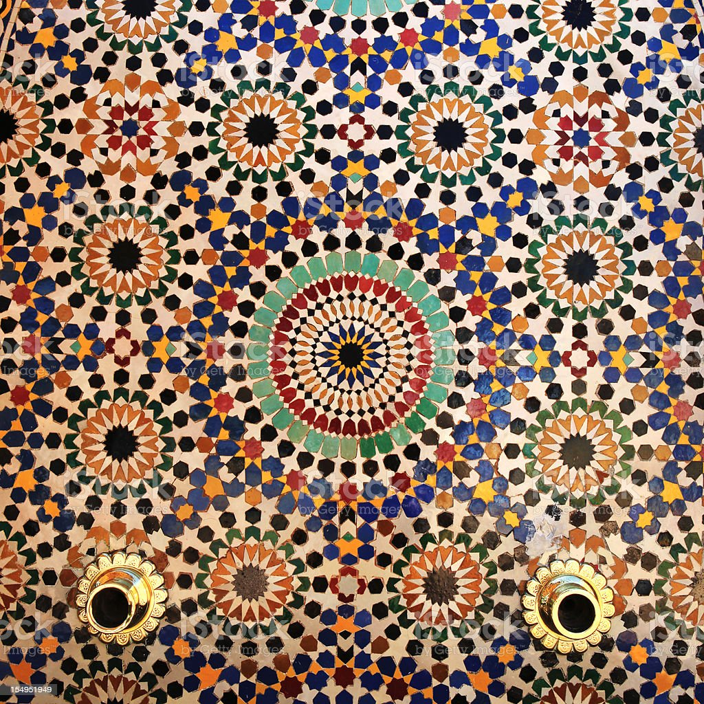 Colorful tiles on fountain, Mausoleum of Mohammed V , Rabat, Morocco. royalty-free stock photo