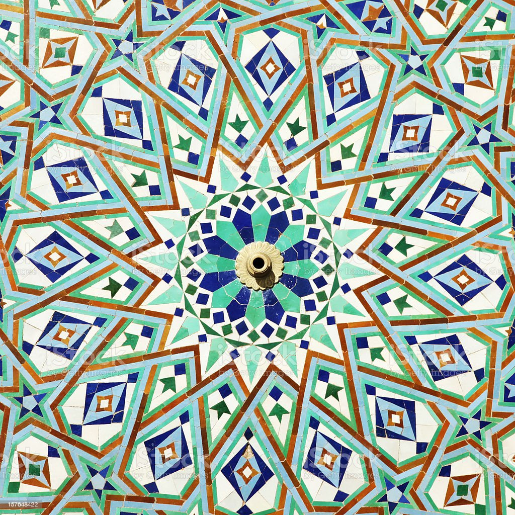 Colorful tiles on fountain of Mosque Hassan ll, Casablanca, Morocco stock photo