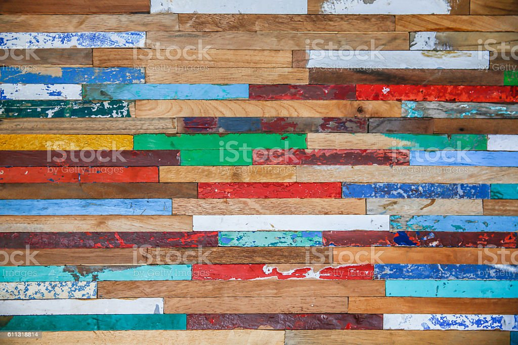 Colorful timber plank stripes textured stock photo