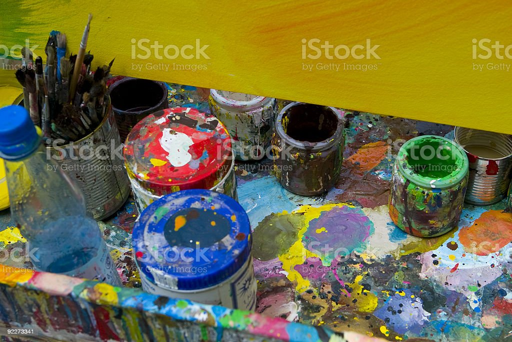colorful tin cans stock photo