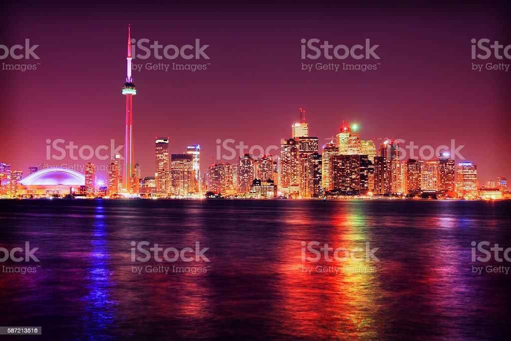 Colorful Toronto City at Night stock photo