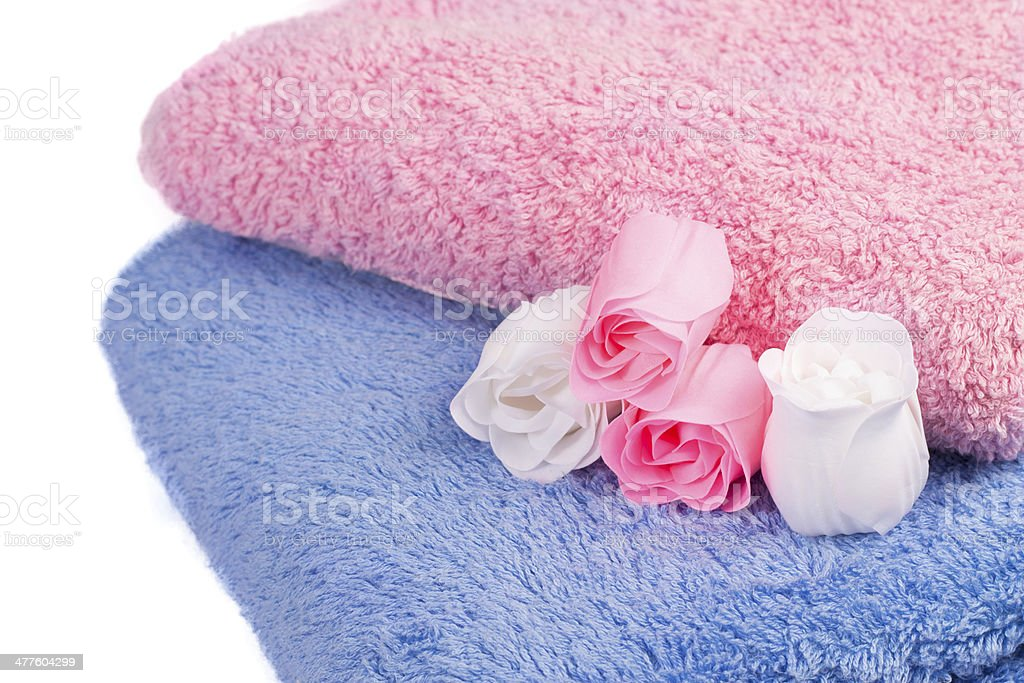 colorful towels and soap in the form of roses royalty-free stock photo