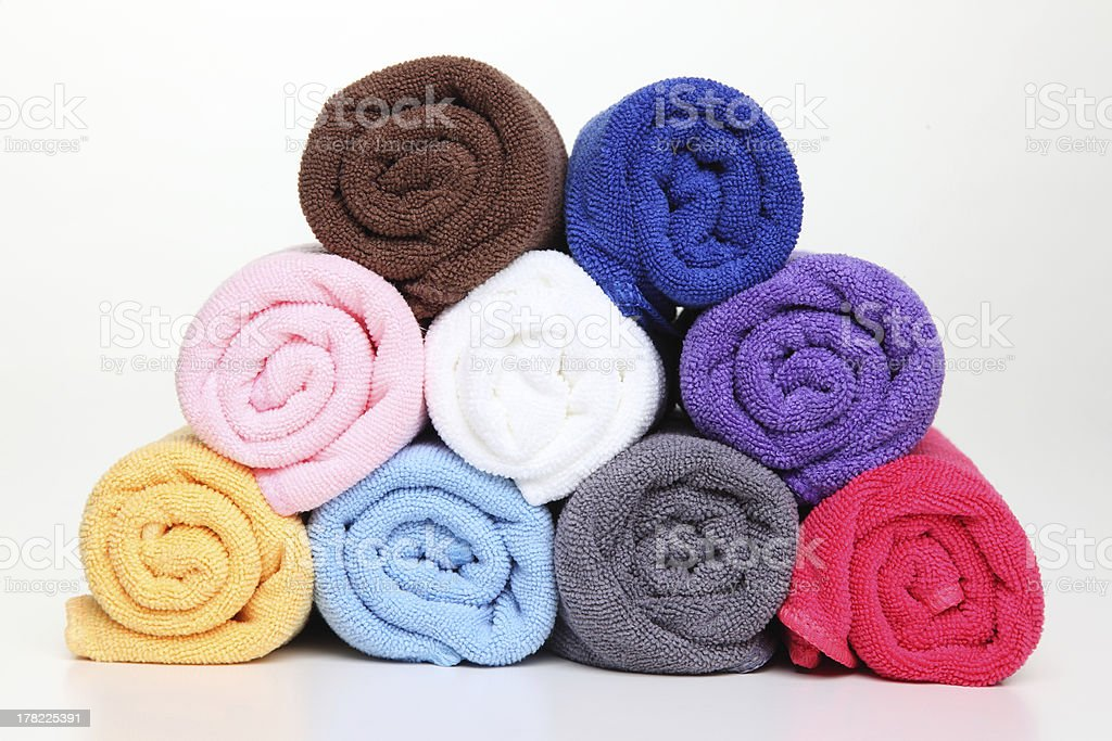 Colorful towels. on white background royalty-free stock photo