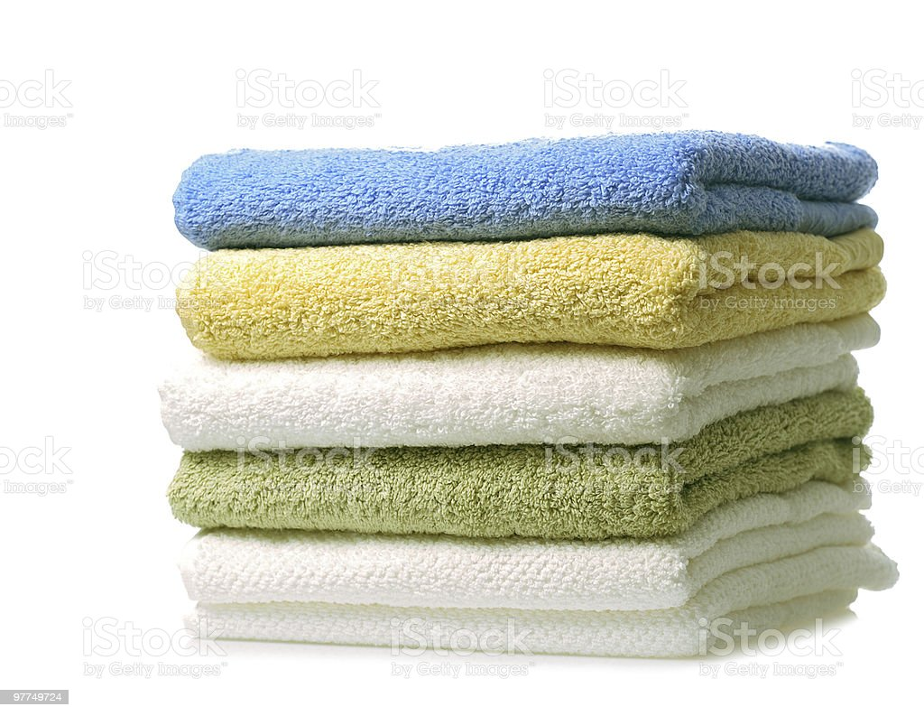 colorful towels stock photo