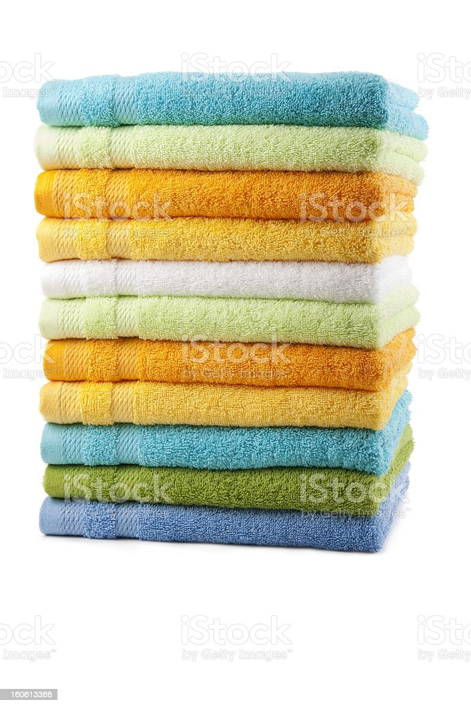 Colorful towels placed in a stack stock photo