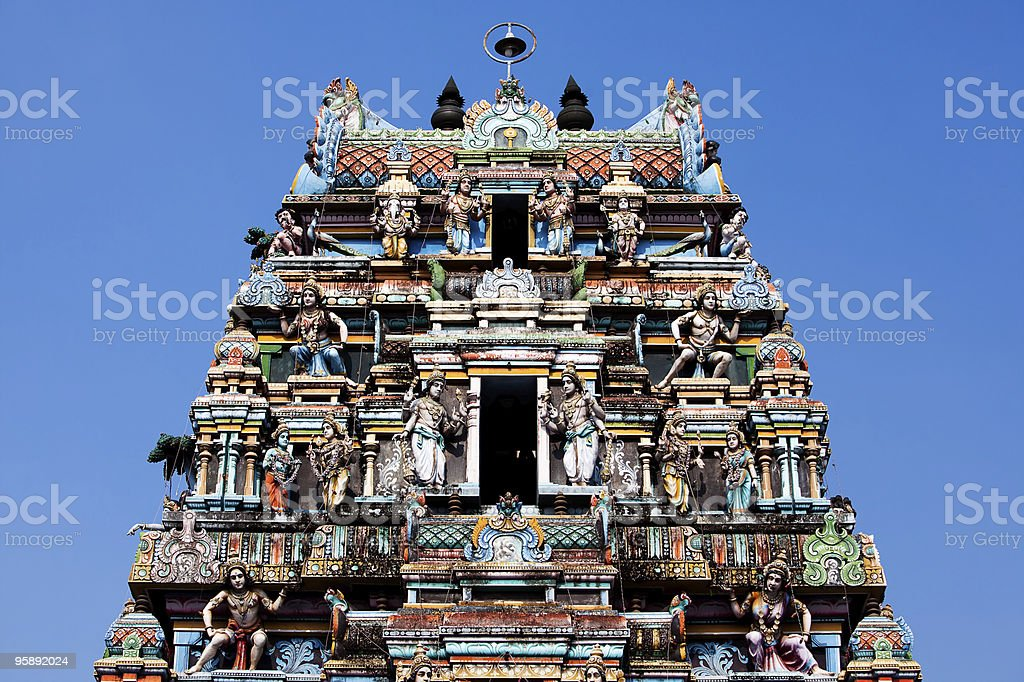 Colorful tower of the Vishnu Temple of Cochin stock photo