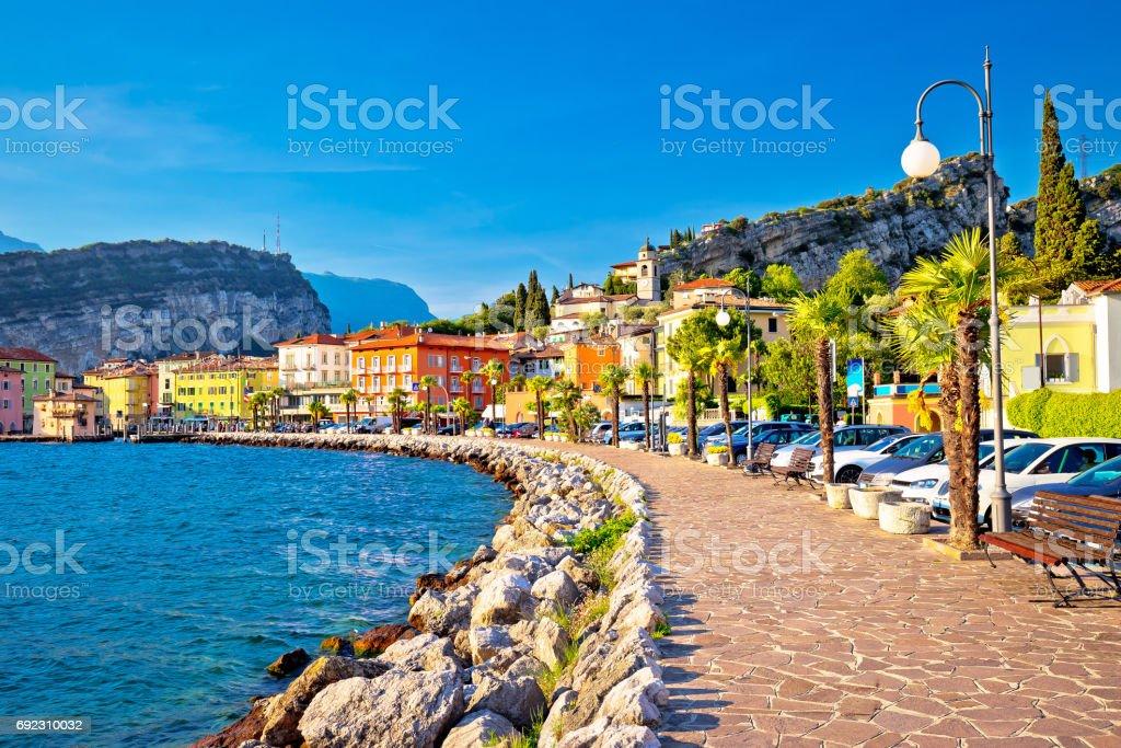 Colorful town of Torbole on Lago di Garda waterfront view, Trentino Alto Adige region of Italy stock photo