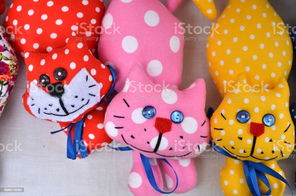 Colorful toy cats stock photo