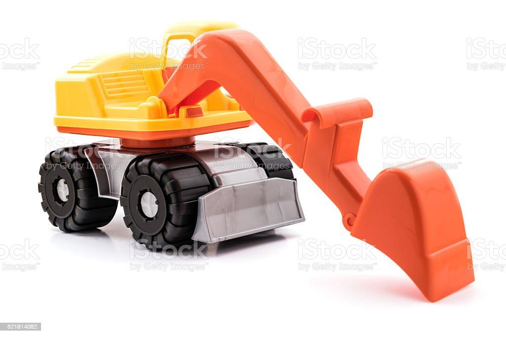 Colorful toy Excavator. Isolated on white background. stock photo