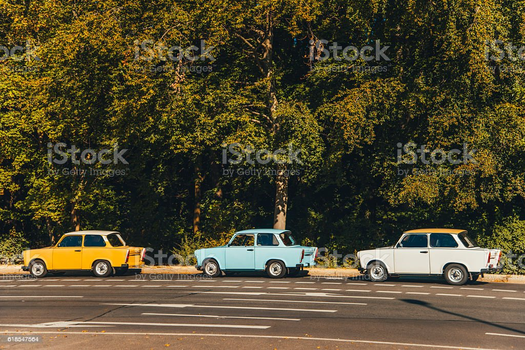 Colorful Trabant cars stock photo