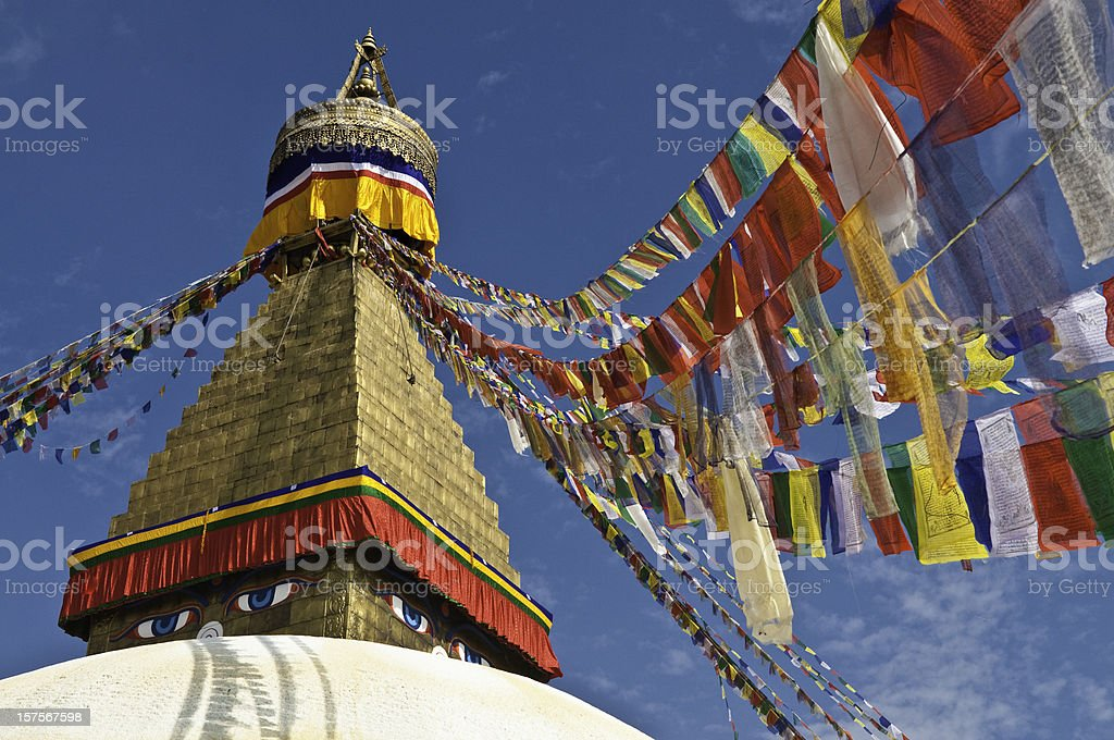 Colorful traditional Buddhist prayer flags golden stupa temple Bhaktapur Nepal stock photo