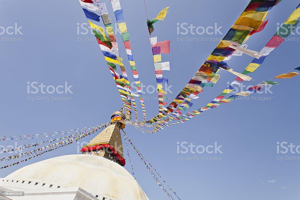 Colorful traditional Buddhist prayer flags golden stupa temple Bhaktapur Nepal royalty-free stock photo