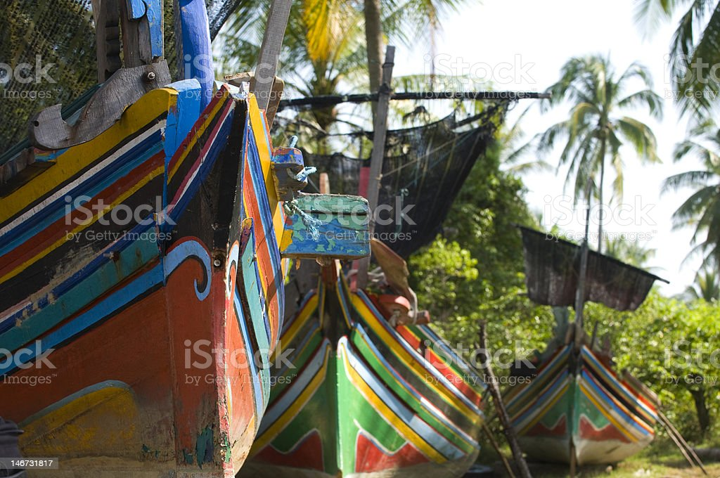 Colorful traditional fisherman boats. stock photo