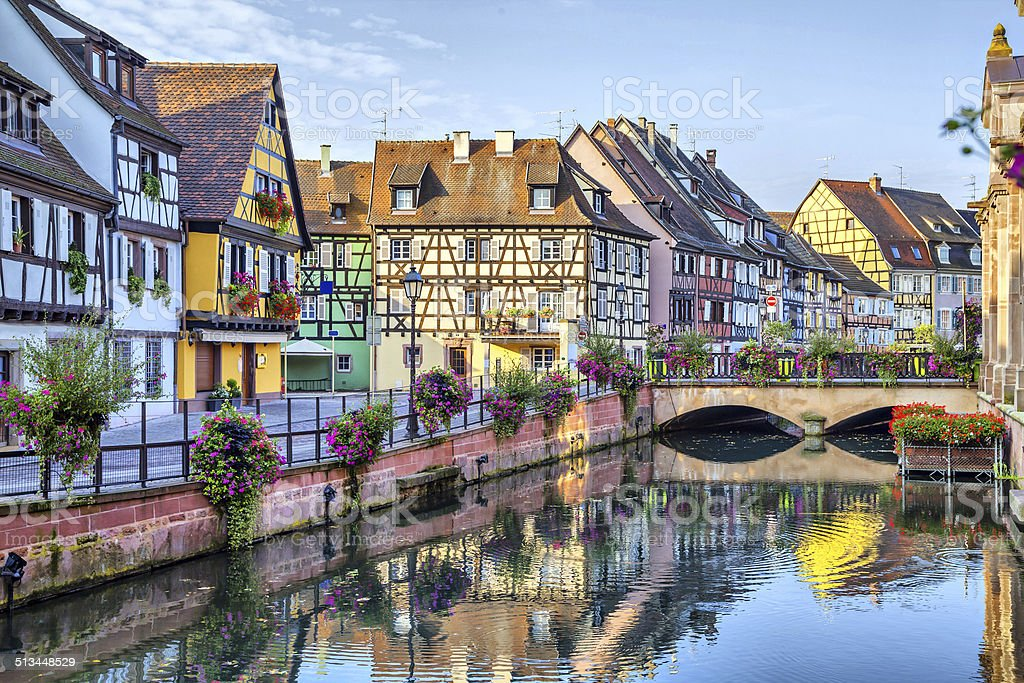 Colorful traditional french houses in Colmar stock photo