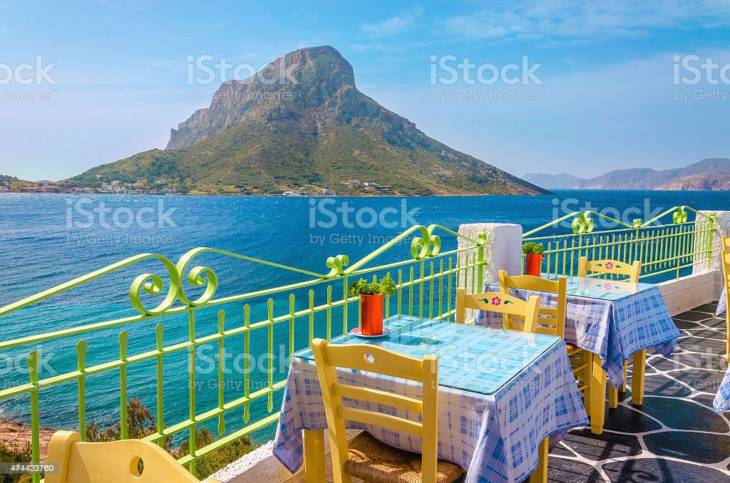 Colorful traditional Greek restaurant, Greece stock photo