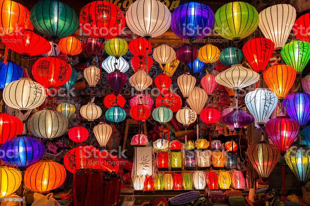 Colorful traditional lanterns stock photo