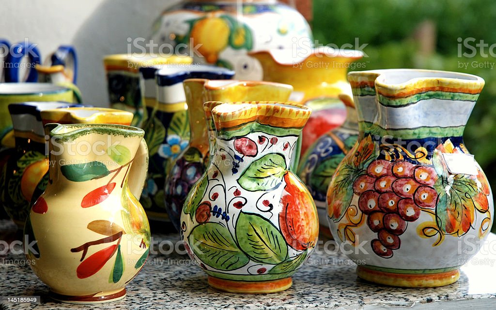 Colorful traditional pots stock photo