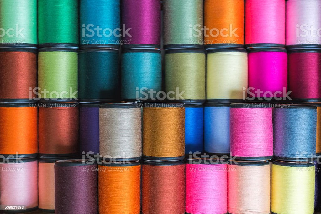 Colorful tread reels stock photo