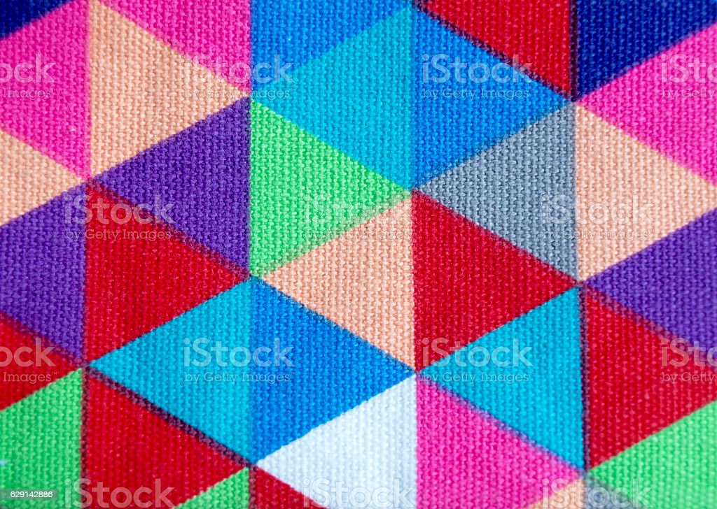 Colorful triangles cloth texture stock photo