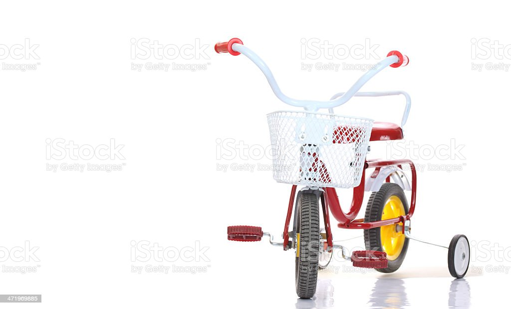 Colorful tricycles isolated on white background stock photo