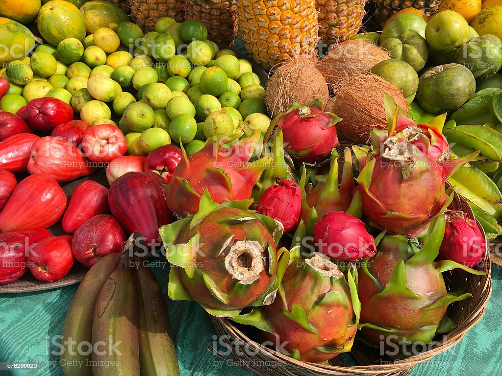 Colorful tropical fruit stock photo