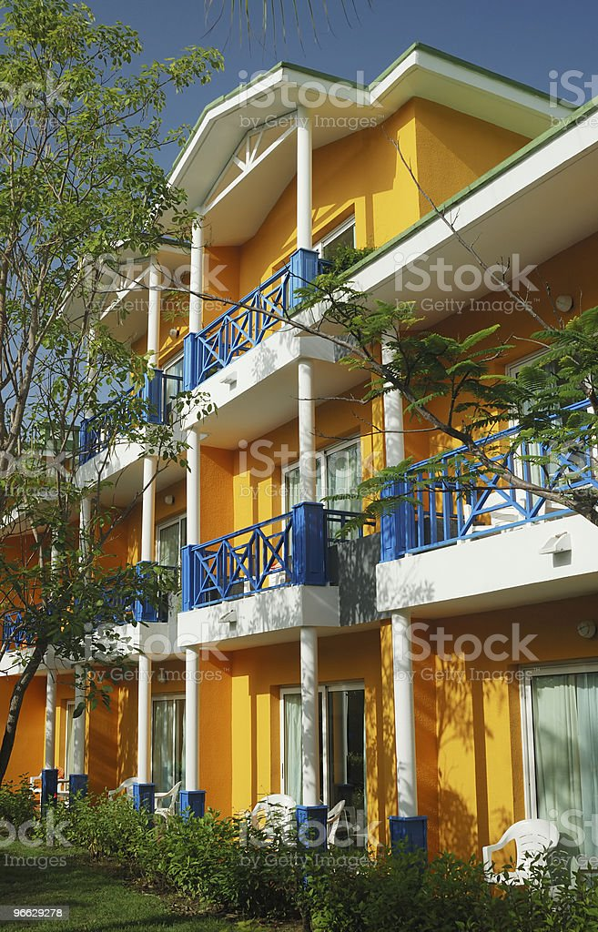 Colorful tropical resort stock photo