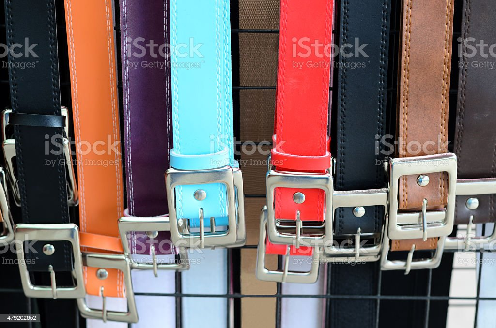 Colorful trouser belts stock photo
