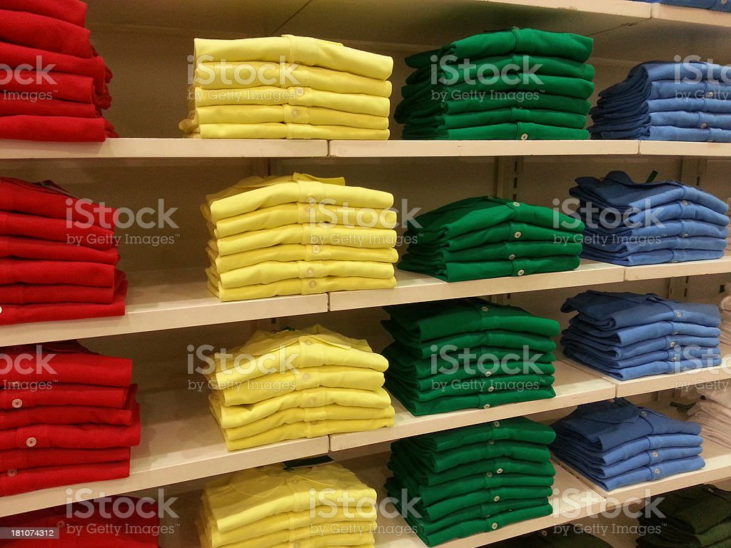 Colorful T-shirt in Shopping Store stock photo