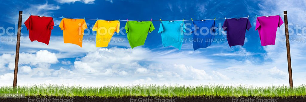 colorful tshirts on washing lin stock photo