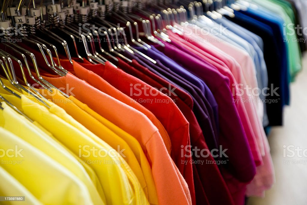 Colorful T-shirts stock photo
