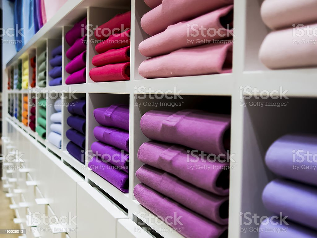 Colorful T-shirts store stock photo