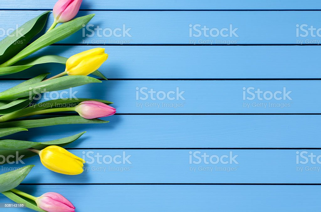 Colorful tulips on wooden table stock photo