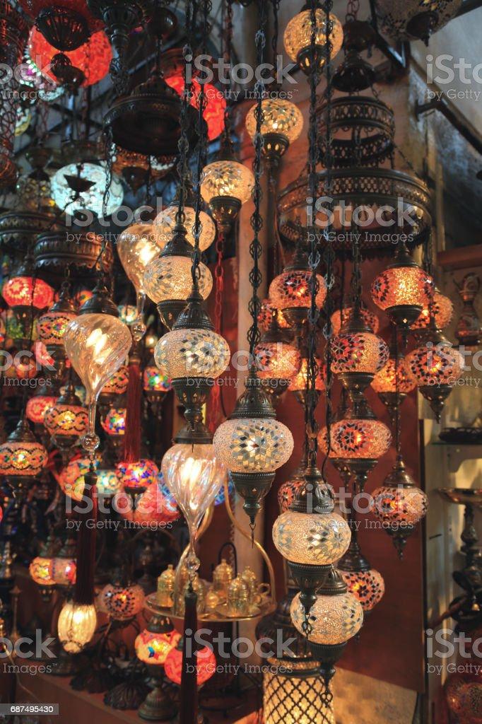 Colorful Turkish lanterns stock photo