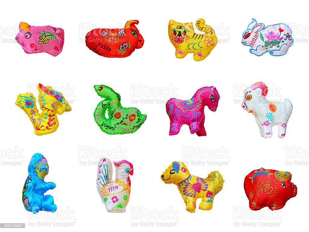 Colorful twelve zodiacs stock photo