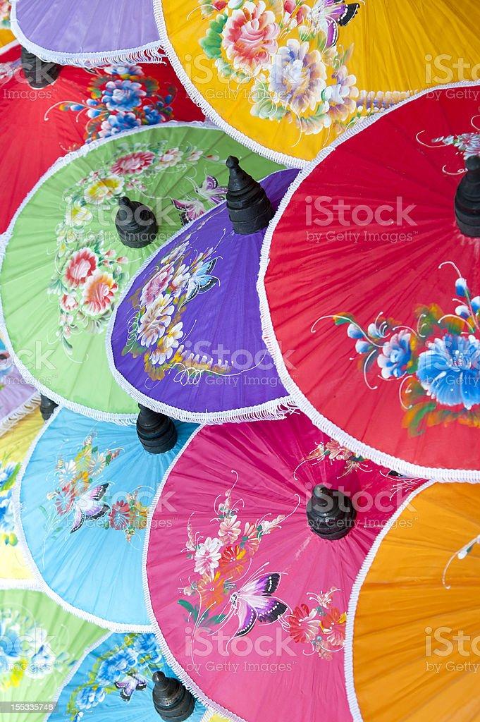 Colorful umbrella's stock photo