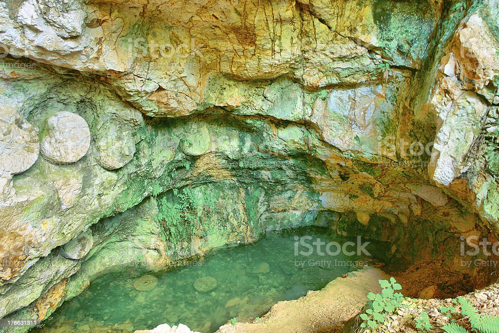 Colorful underground cave formations in Macedonia stock photo