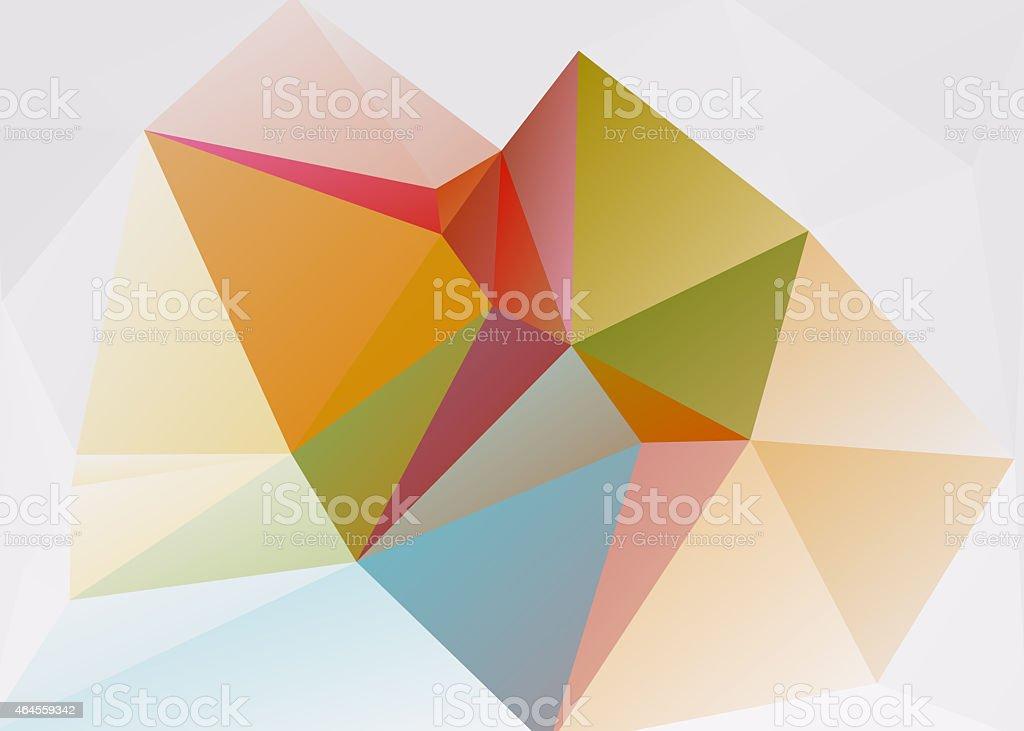 Colorful unfolded origami paper triangles 3-D retro clip art stock photo