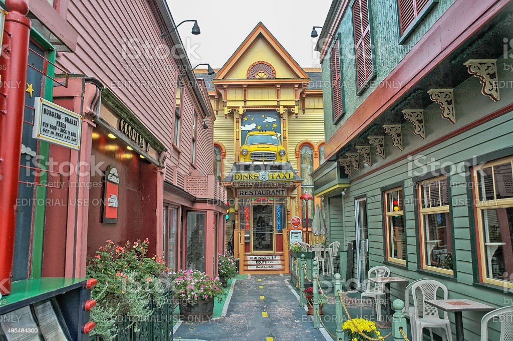 Colorful Unique Restaurant Bar Harbor Maine stock photo