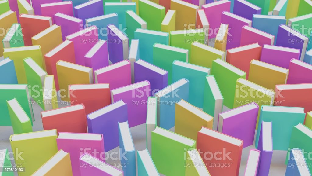 Colorful Upright Hardcover Books on White Floor stock photo