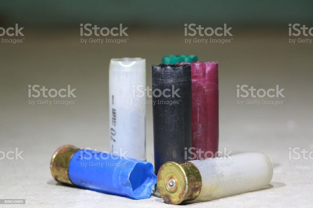 Colorful used shotgun shells stock photo