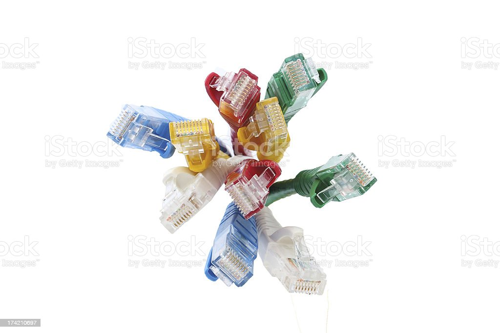 colorful UTP ethernet cables LAN Isolate stock photo