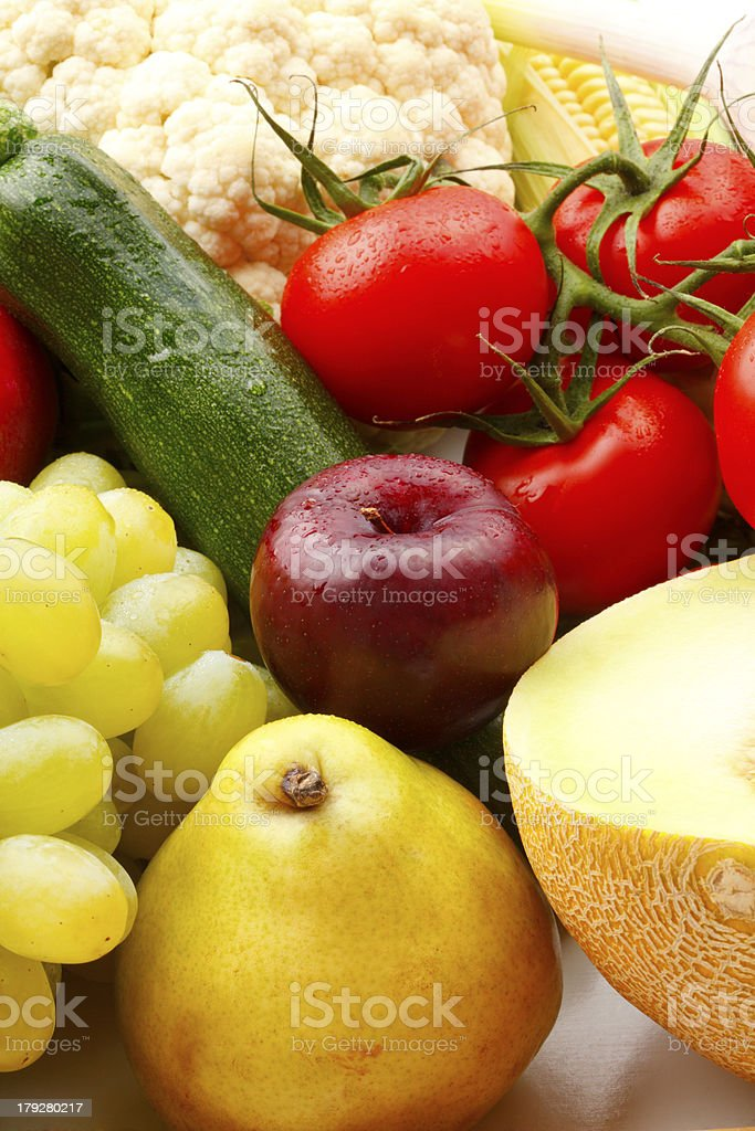 Colorful various fruits and vegetables royalty-free stock photo