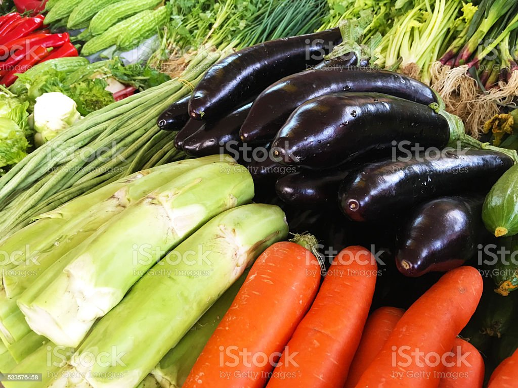 Colorful vegetables for sale in Chinese market stock photo