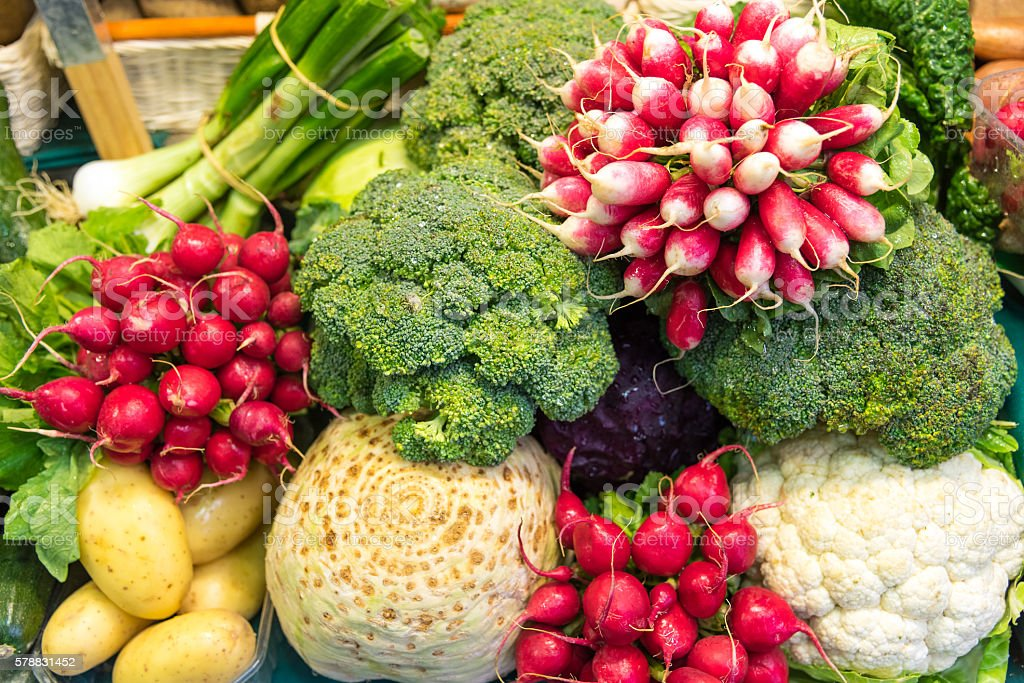 Colorful vegetables for sale stock photo